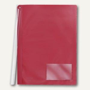 FolderSys Klemmmappe mit Schiene, A4, PP, vollfarbig rot, 50 Stück, 1300880