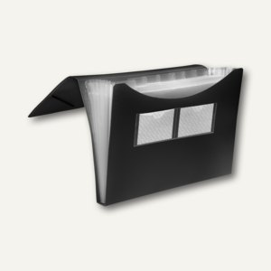 FolderSys Fächermappe A4, PP, 7 Taschen, schwarz, 20 Stück, 7000530