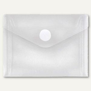 FolderSys Umschlag transparent, DIN A7 quer, PP, Klett, weiß, 100 St., 40117-04