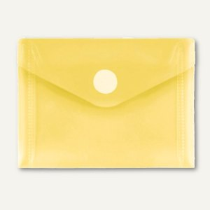 FolderSys Umschlag transparent, DIN A7 quer, PP, Klett, gelb, 100 St., 40117-64