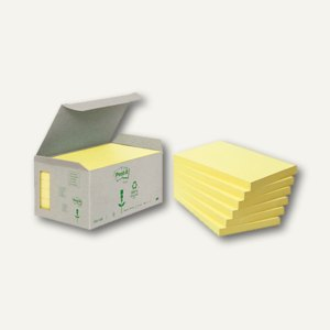 Post-it Haftnotizen Recycling, 127 x 76 mm, 6 x 100 Blatt, gelb, 6551B