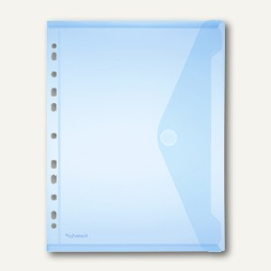 Dokumententasche A4 quer, Abheftstreifen, PP, Klett, blau, 100St., 40106-44