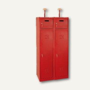 Feuerwehrschrank, mit 4 Türen, Helmhalter, B 80 x H 180 x T 50cm, feuerrot, F080