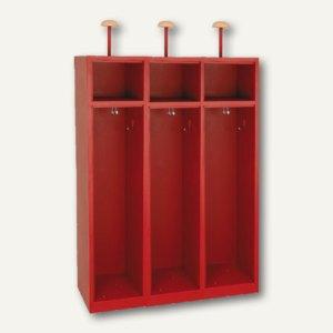 Feuerwehrschrank, o. Türen, Helmhalter, B 118,5 x H 180 x T 50 cm, feuerrot, F12