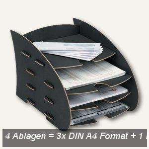 """Fellowes """"Earth"""" Briefkorb m. mehreren Ablagen, 3x DIN A4 +1, schwarz, 8010601"""