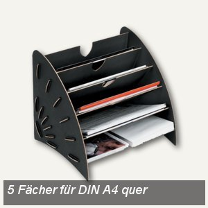 "Fellowes ""Earth"" Sortierelement, 5 Fächer DIN A4 quer, schwarz, 8010701"