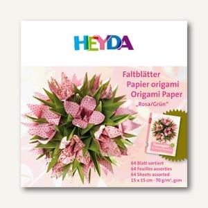 Heyda Faltblätter Origami, 15 x 15 cm, rosa/grün, 70 g/m², 64 Blatt, 204875550