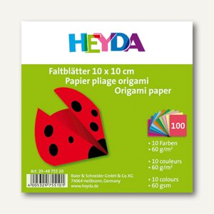 Heyda Faltblätter Origami, 15x15 cm, sortiert, 60 g/qm, 100 Blatt, 204875514