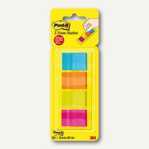 Post-it Page Markers Z-Notes, 25.4 x 38.1 mm, 4 x 50 Blatt, 672-P1