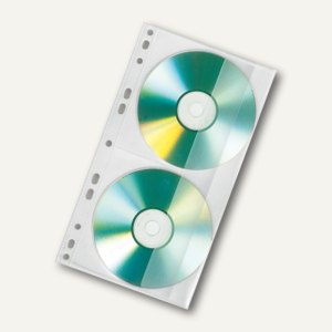 Veloflex CD/DVD-Doppelhülle, 143x255mm, PP, für 2 CDs, 100 Stck, transp, 4356100