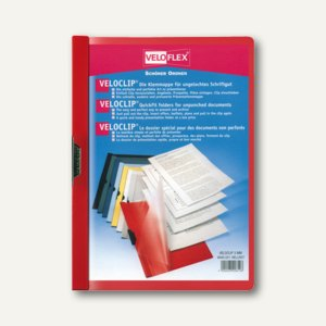 Veloflex Klemmmappe VELOCLIP®, DIN A4, Hart-PVC, Metallclip, rot, 25 St.,4945021
