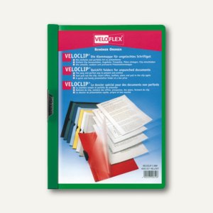 Veloflex Klemmmappe VELOCLIP® DIN A4, Hart-PVC, Metallclip, grün, 25 St.,4945041