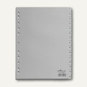 Durable Ordnerregister DIN A4, 1-15, PP grau, 20 Stück, 6524-10