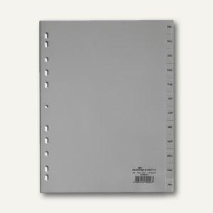 Register DIN A4, geprägte Taben, DEZ - JAN, PP, 12-teilig, grau, 25 Stück