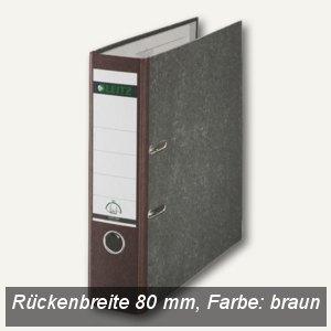 LEITZ Standard-Ordner 180°, breit/Rücken 80mm, wolkenmarmor/braun, 10805075