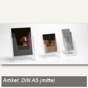 Prospekt Tischständer, 3 Fächer DIN A5, Hochformat, Polystyrol, klar, 10 Stück,