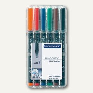 Staedtler Lumocolor Universalstifte permanent 318 F, 0.6 mm, 6er-Etui, 318 WP6