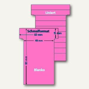 Ultradex T-Karten, liniert, Schmalformat, dunkelrosa, 100 Stück, 542154