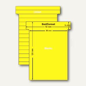 Ultradex T-Karten, liniert, Breitformat, hellgelb, 100 Stück, 541150