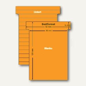 Ultradex T-Karten, liniert, Breitformat, rotorange, 100 Stück, 541152