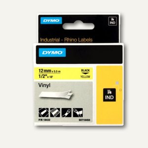Dymo Rhino Etikettenband, 12 mm x 5.5 m, Vinyl, schwarz/gelb, S0718450