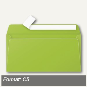 Briefumschlag C5, nassklebend, 120 g/m², maigrün/minze, 20 St., 5542C
