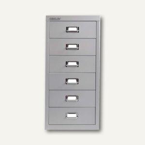 Bisley Basis Schubladenschrank DIN A4, 6 Schübe á 87 mm, silber, L296-355