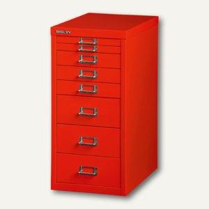 Bisley Schubladenschrank DIN A4, 8 versch. Schubgrößen, kardinalrot, L298-670