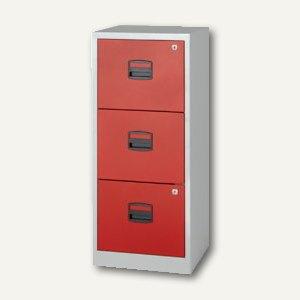 Büroschubladenschrank, 3 HR-Schübe, H1015xB413xT400 mm, grau/rot