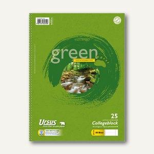 Ursus Collegeblock Green DIN A4, liniert m. Rand rechts, 70g/qm, 80Bl.,608575025