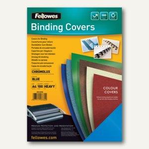 Fellowes Deckblatt Chromolux glänzend, DIN A4, 250 g/qm, blau, 100St., 5378203