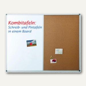 Kombi-Tafel Typ CC, 900 x 600 mm, Schreib-und Korktafel, Aluminium, silber, 1240