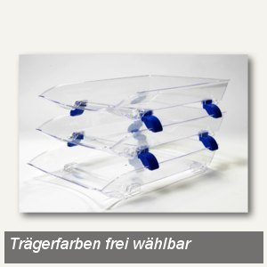 "FolderSys Briefkorb ""CRAZY TRAY"" A4, Polystrol transparent/blau, 3er Set,9310500"