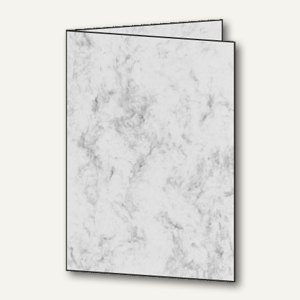 Sigel Faltkarten, DIN A6, Edelkarton, 185 g/m², Marmor, grau, 25 Stück, DC641