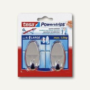 Tesa Powerstrips Selbstklebehaken, bis 1.5 kg, chrom, 2er Pack, 58050-00012