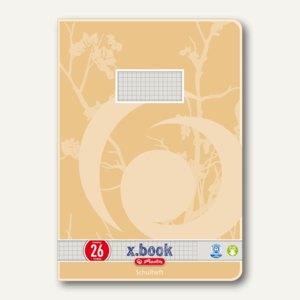 Herlitz X-Book Schulheft, Recyclingpapier, A4, kariert mit Rand, 3352606