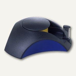 Tischabroller DELTA - 35x116x103 mm, Klebefilm bis 15 mm, schwarz/blau, 1756-34