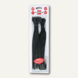Brennenstuhl Klett-Kabelbinder, 200 x 12 mm, schwarz, 40 Stück, 1164320