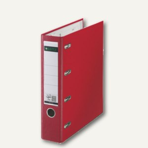 LEITZ Kunststoff-Doppelordner, für 2 x DIN A5 quer, 75 mm breit, rot, 1012-00-25