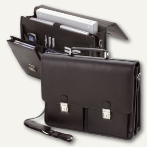 Alassio Aktentasche VENETO, Laptopfach, Leder, schwarz, 47117