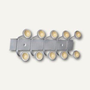 unilux Wandhaken, B 57.5 cm, metallgrau/Buche, 5 Doppelhaken, 100340623