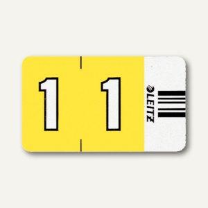 """LEITZ Ziffernsignal Orgacolor """"1"""", auf Streifen, gelb, 100 Stück, 6601-00-00"""