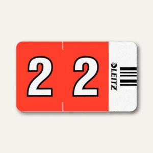 """LEITZ Ziffernsignal Orgacolor """"2"""", auf der Rolle, rot, 500 Stück, 6602-10-00"""