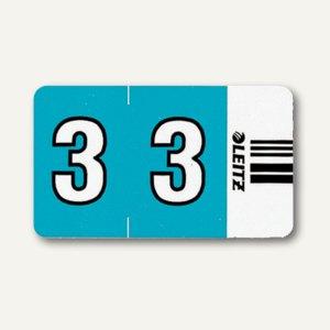"""LEITZ Ziffernsignal Orgacolor""""3"""" auf Streifen, hellblau, 100 Stück, 6603-00-00"""
