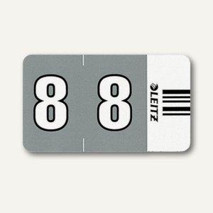 """LEITZ Ziffernsignal Orgacolor """"8"""" auf Streifen, dunkelgrau, 100 Stück,6608-00-00"""