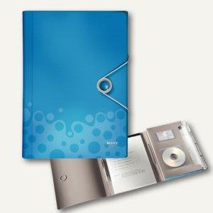 LEITZ Projektmappe Bebop, DIN A4, 6 Fächer, PP, Perlmutt-Effekt, blau,4579-00-37