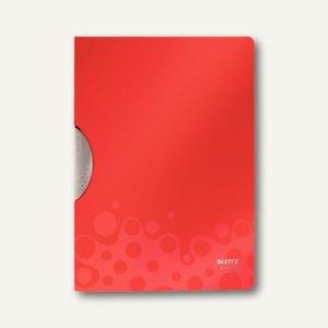 LEITZ Klemmhefter Bebop ColorClip, DIN A4, 30 Blatt, PP, rot, 4183-00-25