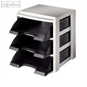 LEITZ Stapelmodul-Set, Briefablage, DIN A4, Polystyrol,schwarz, 5327-00-95