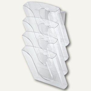 Tisch-/Wandprospekthalter Presenter Set,glasklar,4 Stück+Adapter, 5400-00-02