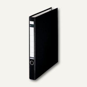 Kunststoff-Ringordner, DIN A4, 2 D-Ring-Mechanik, Pappe, schwarz, 1014-00-95